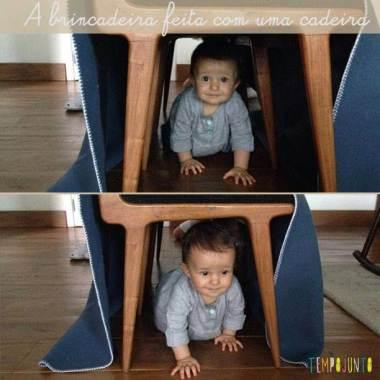 Túnel de cadeira para estimular seu bebê a engatinhar