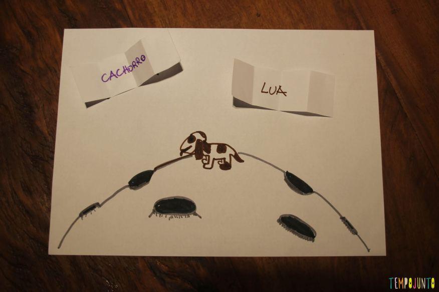 Brincadeiras para pais e filhos desenho cachorro na lua