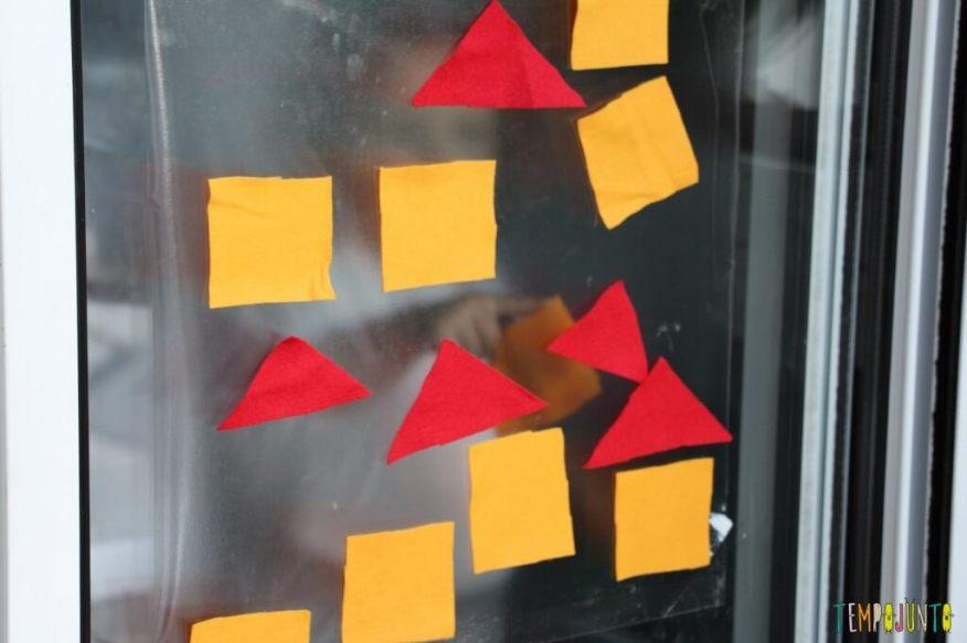 Atividade de cores e formas com contact e feltro - dedinho da gabi