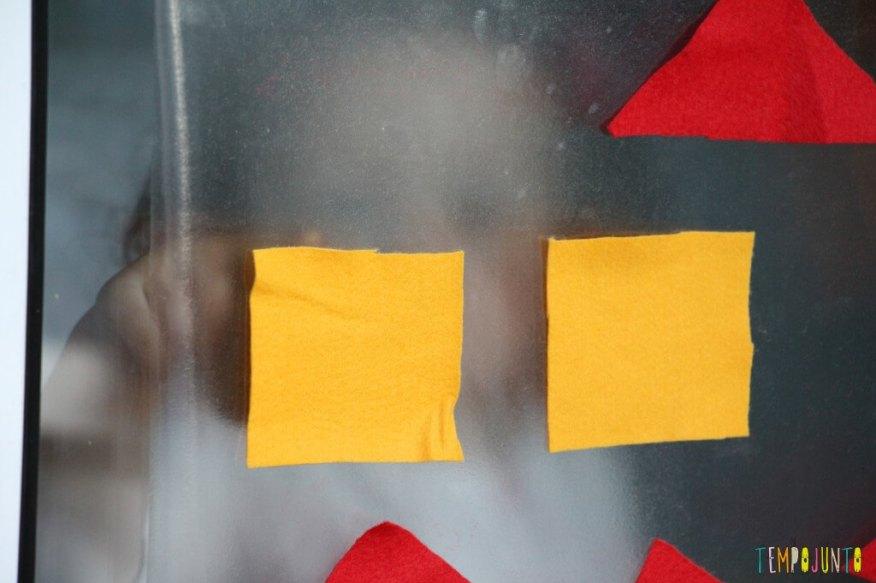 Atividade de cores e formas com contact e feltro - reflexo da gabi