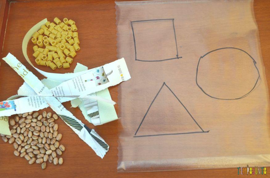 Colar materiais no papel contact - material