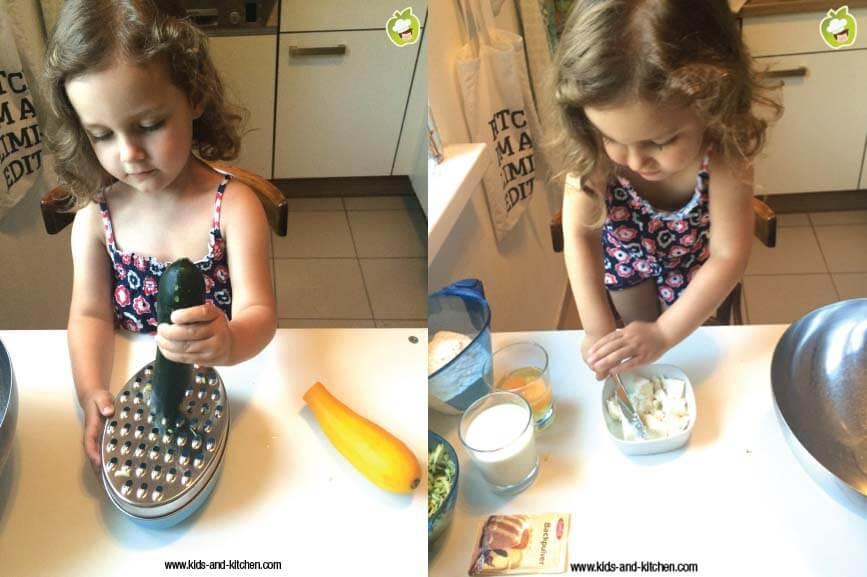 Na cozinha com crianças - Bolinho de Abobrinha com Queijo de Cabra - ralando