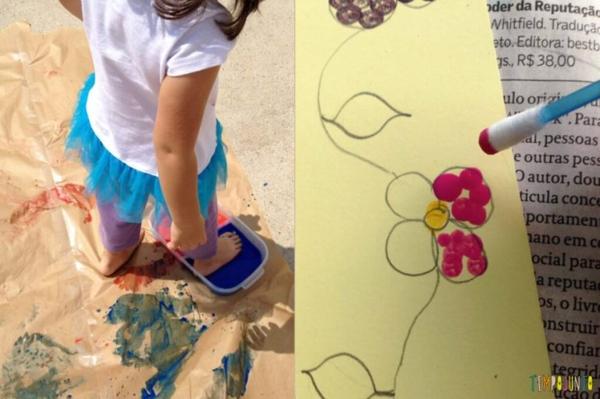 50 brincadeiras artísticas fantásticas que qualquer um consegue fazer - pintura com pé e pontilhismo