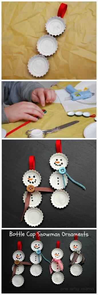 20 ideias para fazer enfeites de natal com as crianças - boneco de neve de tampinha
