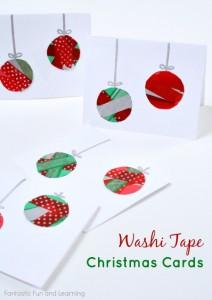 20 cartões de natal criativos para fazer com os filhos - cartao bolas washitape
