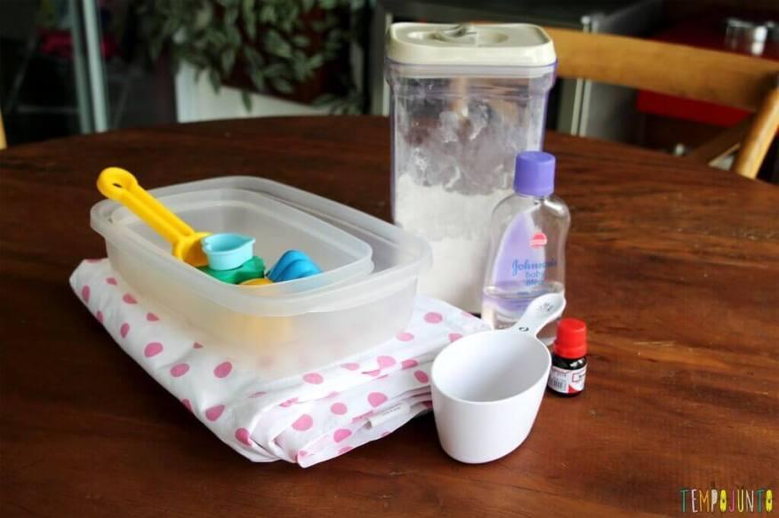 Como fazer areia caseira - materiais