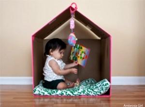 10 maneiras de fazer uma cabana em casa -  casinha caixa de papelão