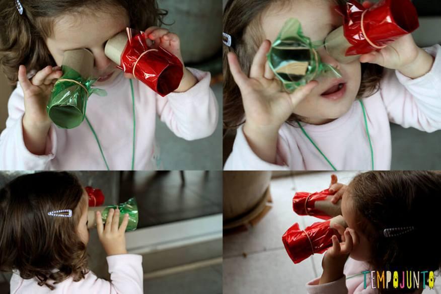 Brinquedos de materiais não estruturados - gabi com o binoculo colorido