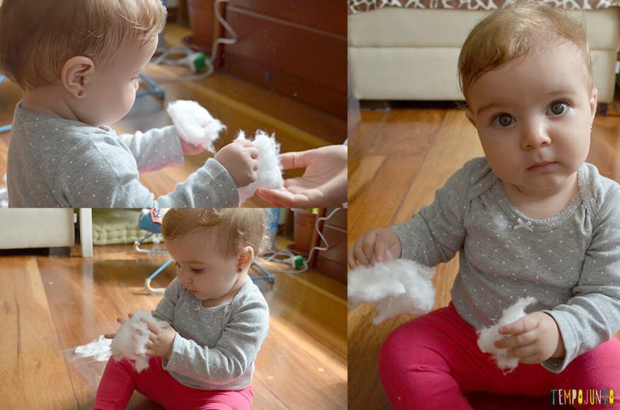 Brincadeira sensorial para bebês com algodão e papel adesivo - carol com o algodao