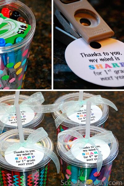10 sugestões de presentes caseiros para o Dia dos Professores - copo com canetinhas