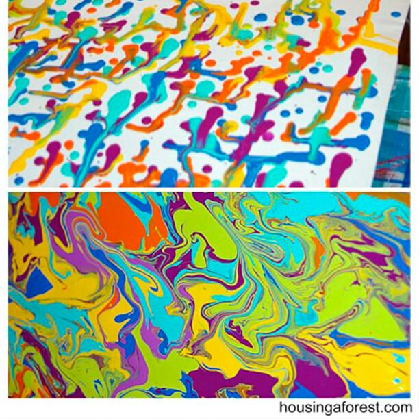 10 ideias de artes para fazer com crianças - tinta escorrida
