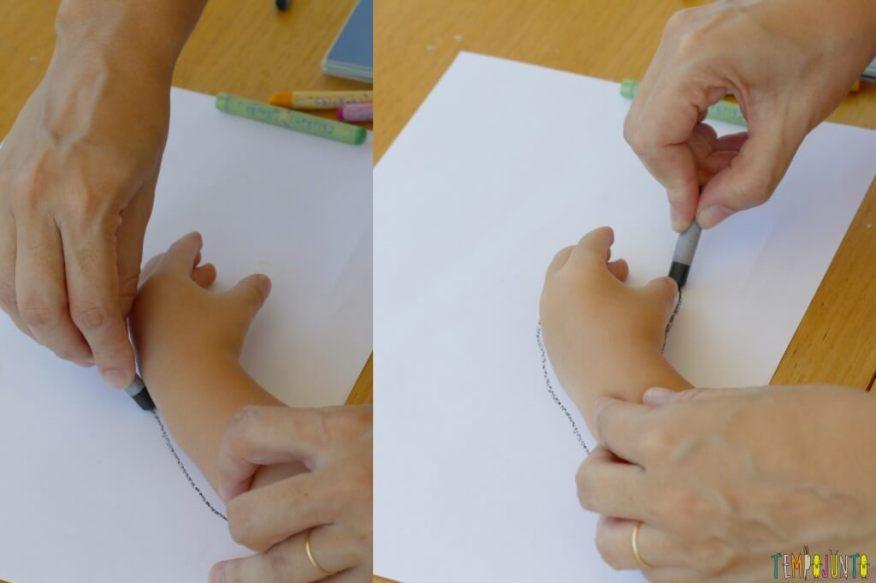 Como fazer desenho com as mãos - patricia desenhando em volta da mao da gab