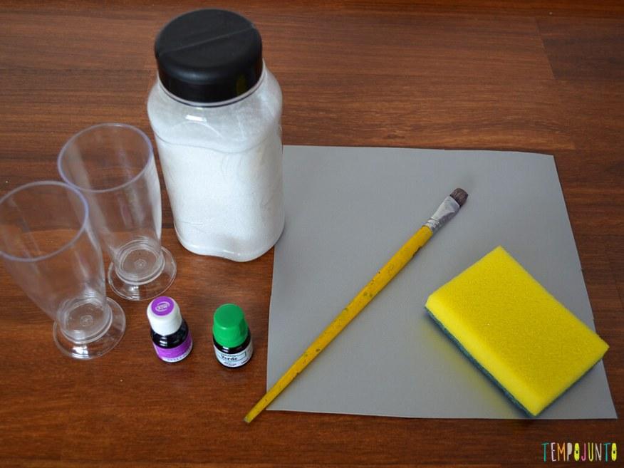 Arte com ingredientes de cozinha para crianças pequenas - materiais
