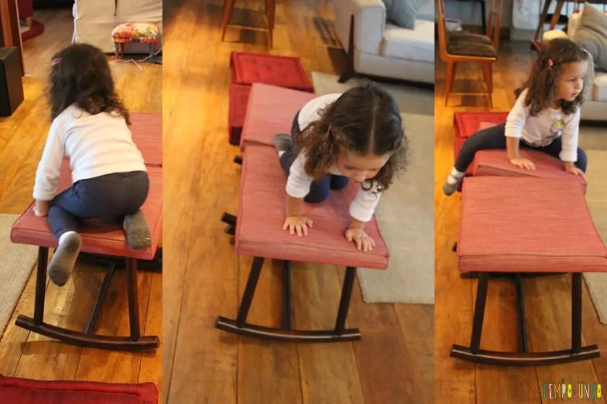 Circuito de atividades para crianças de todas as idades - gabi em cima do banco