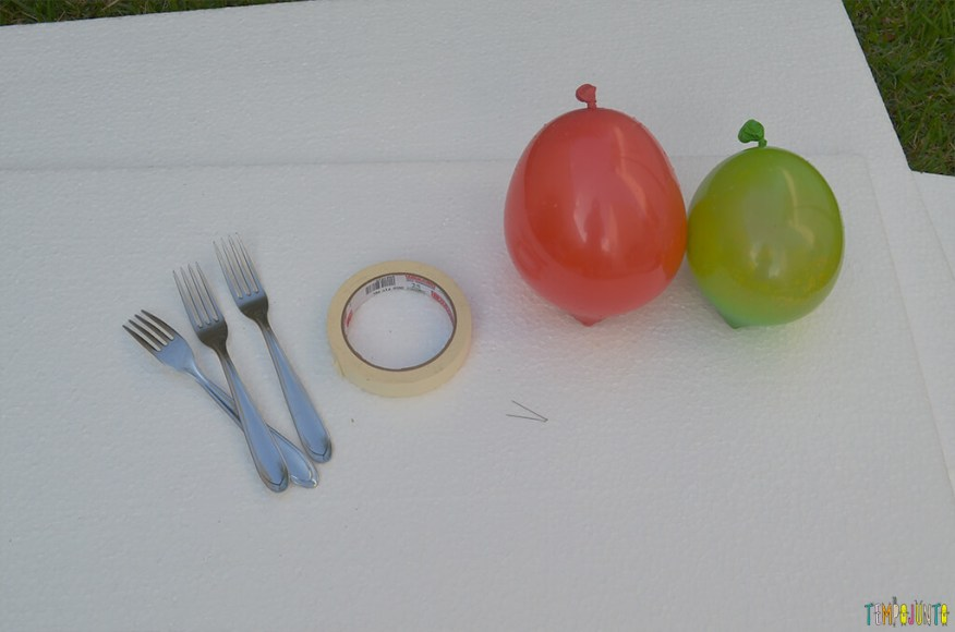 Brincar de pintura com bexiga para um dia ao ar livre - materiais