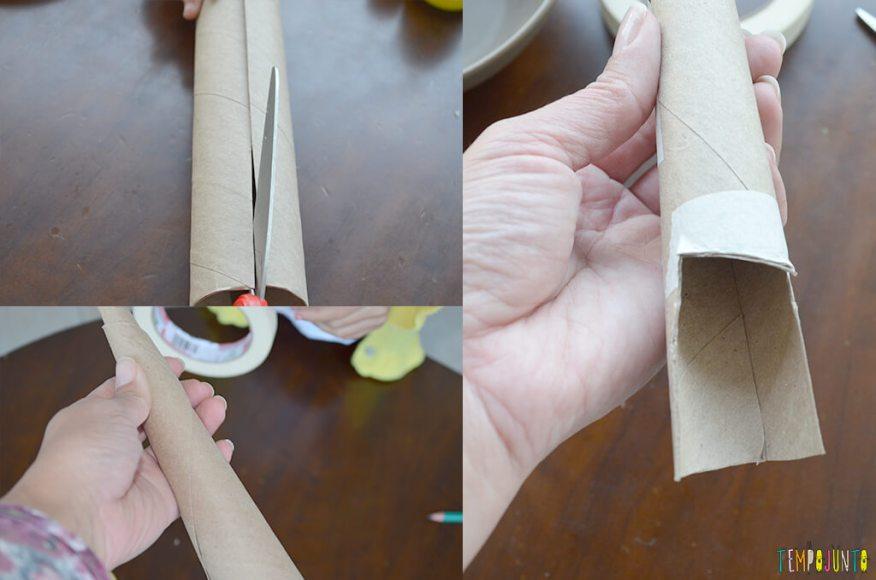 Um fantoche diferente feito de tubo de papel toalha - cabeca e pescoco colados