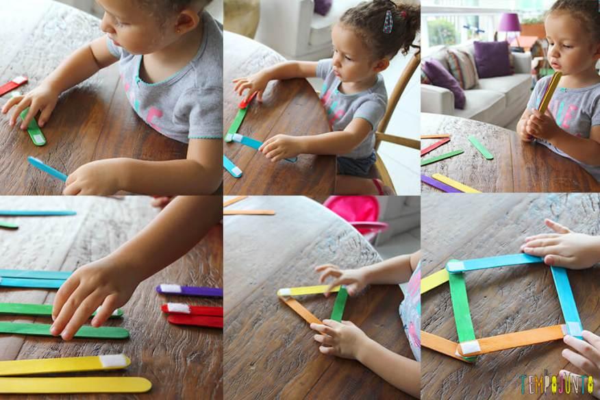 Como fazer um brinquedo com palito de picolé - gabi montando a casinha