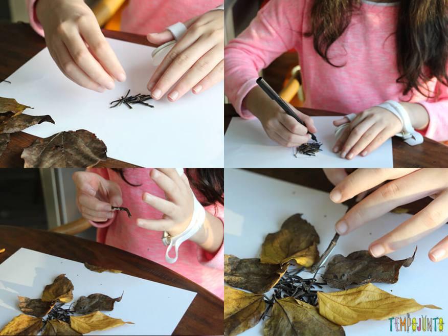 Arte com folhas de árvore_0310_0312_0318_0320_montagem da criação da carol com folhas e galhos