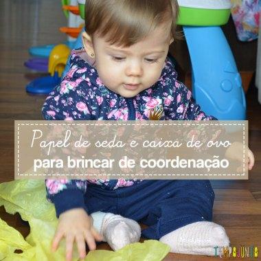 Brincadeira de coordenação e identificação de cores para bebês