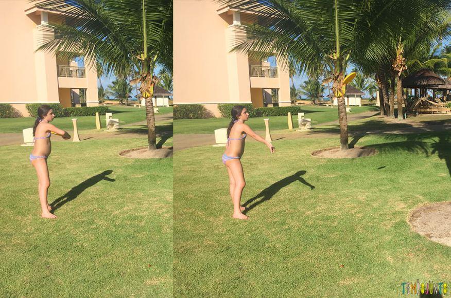 Frisbee Árvore brincadeira inventada pelas crianças - carol jogando o frisbee