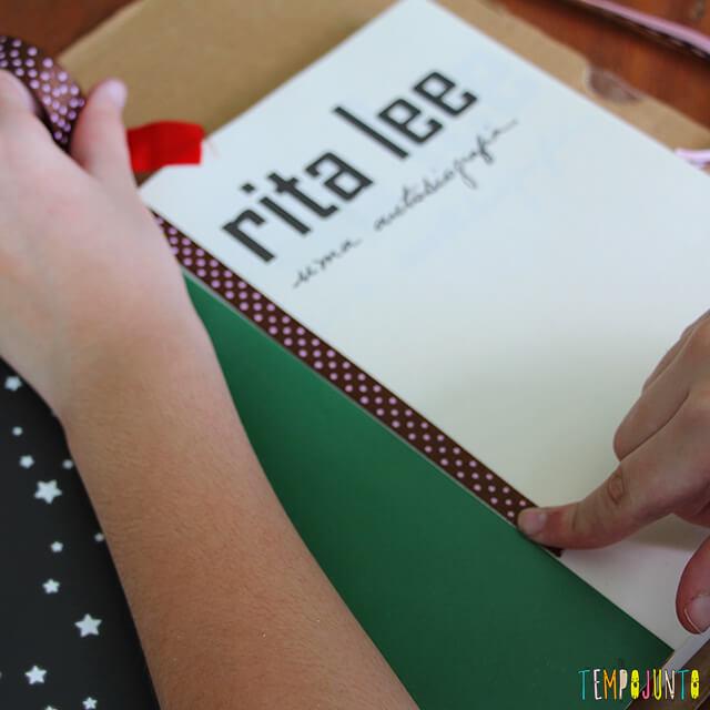 Presente caseiro para o Dia dos Professores - medida do livro na fita