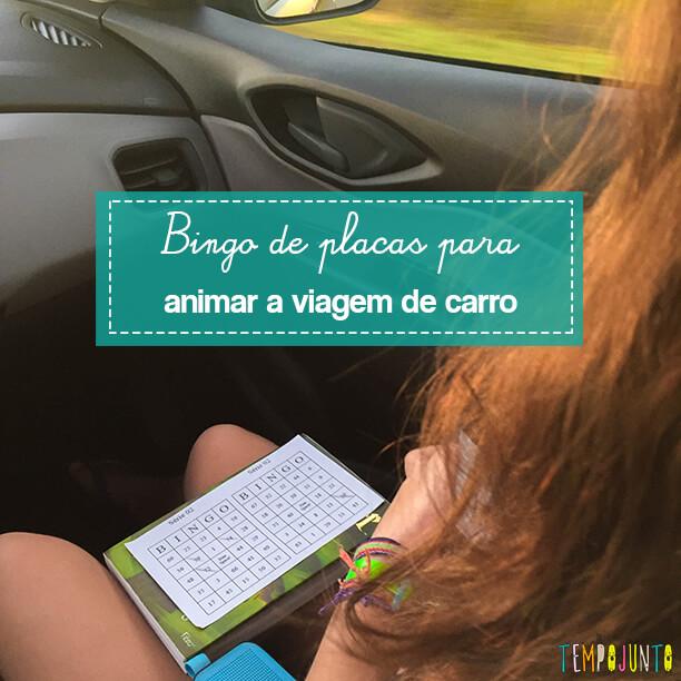 Atividade para viagem de carro: bingo de placas