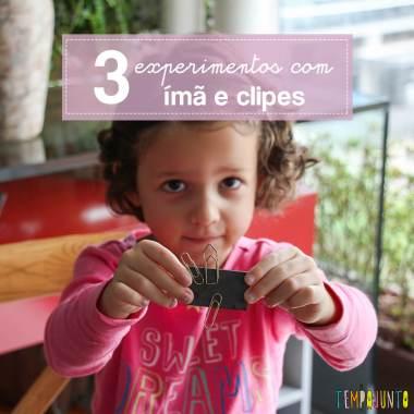 Experimento com ímã e clips para crianças