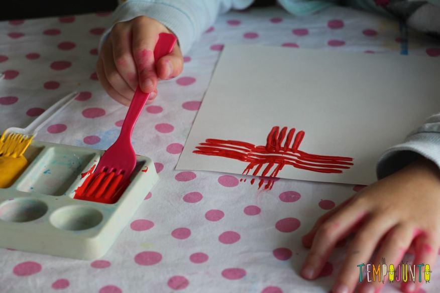 detalhe da pintura com o garfo