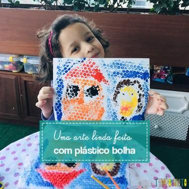 Atividade com plástico bolha: arte para crianças