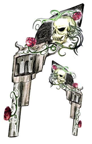 guns skulls roses temporary