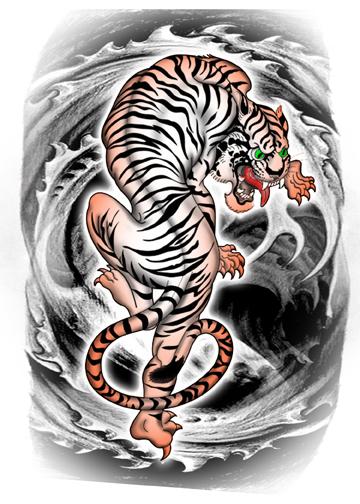 tiger waves temporary tattoos