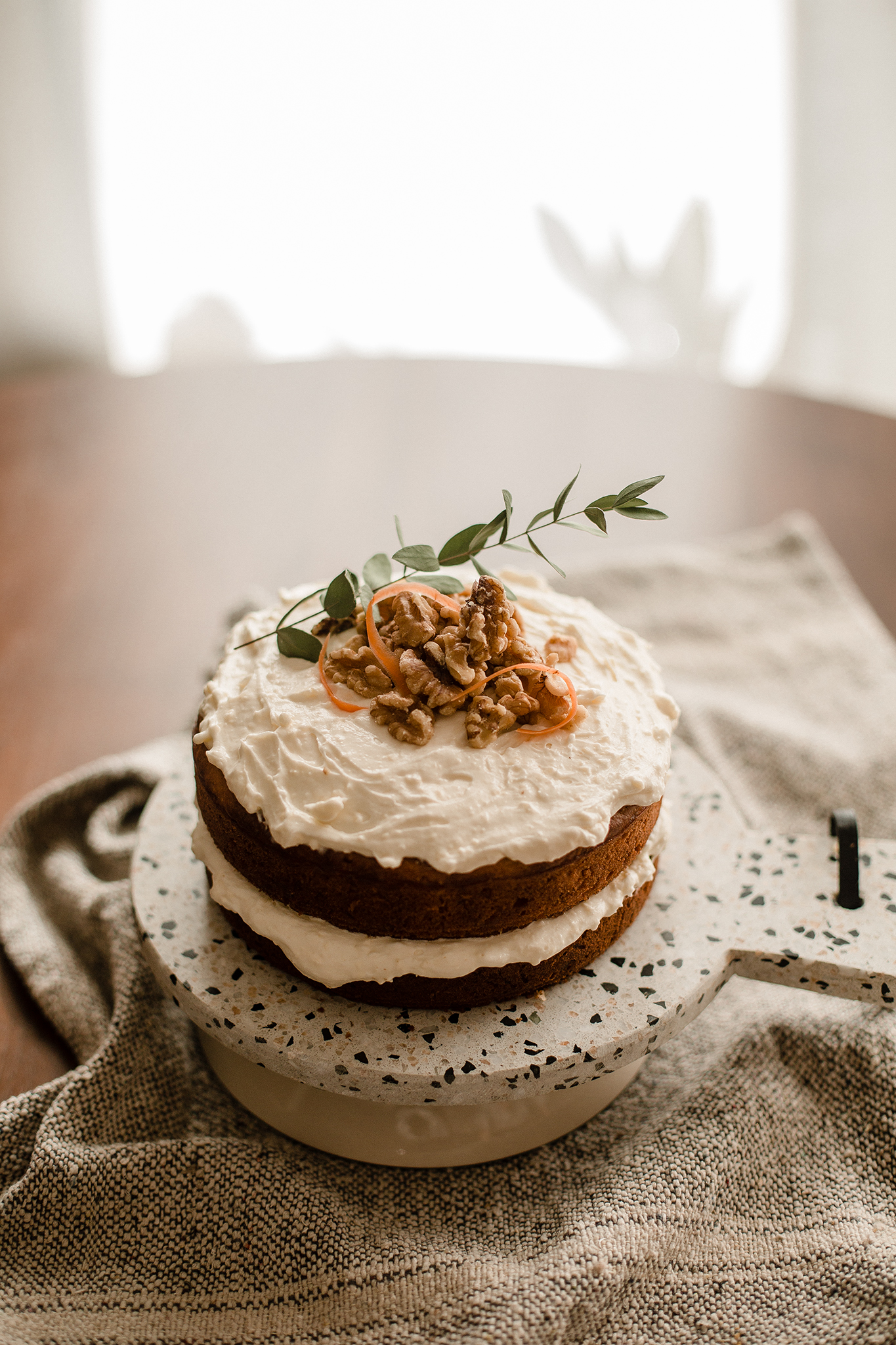 Homemade Moist Carrot Cake with Cream Cheese Frosting