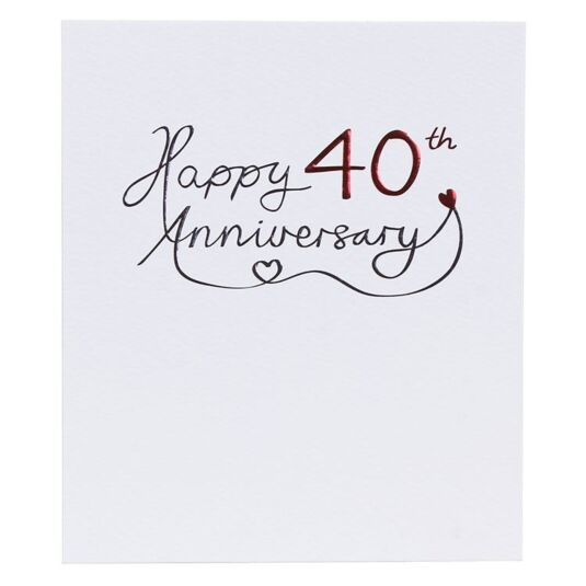 Paperlink 40th Wedding Anniversary Card  Temptation Gifts
