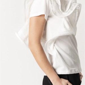 t-shirt bianca con rouches traforato