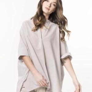 camicia coreana bianca cotone e lino