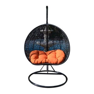love swing chair durban top 10 best outdoor wicker with stand in 2019 reviews there are so many things to about this rattan for your space it comes a black and orange color combination exuding modern