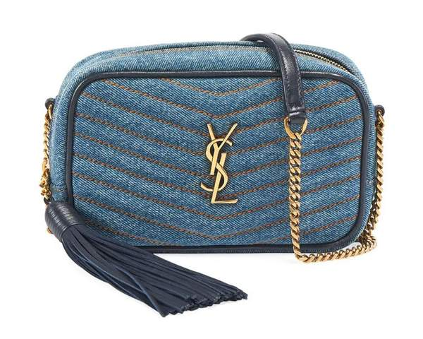 Sac Saint Laurent mini Lou Camera en jean Crossbody