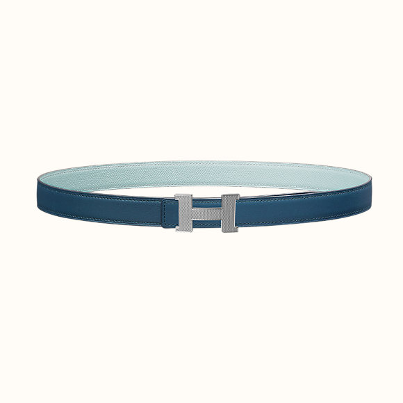 Boucle de ceinture en métal palladié & Cuir de ceinture réversible en veau Swift et veau Epsom