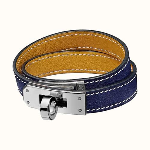 Bracelet Kelly Double Tour en Bleu Encre / Ambre