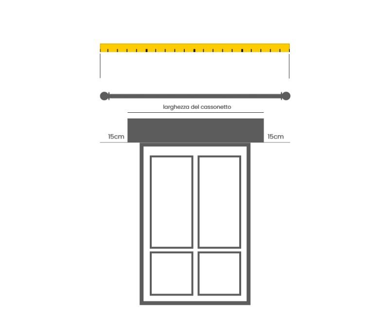prendere le misure per comprare un bastone per tende finestra cassonetto