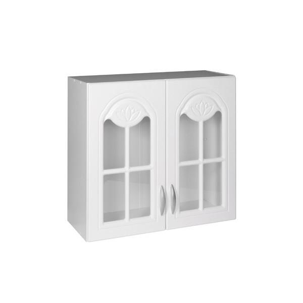 meuble de cuisine haut 2 portes vitrines 80 cm dina melamine avec 1 etagere