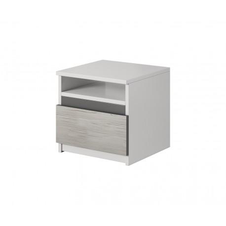 table de chevet helios 2 tiroirs gris et blanc
