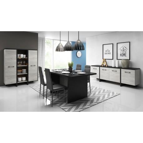 salle a manger complete olen moderne coloris chene gris et noir