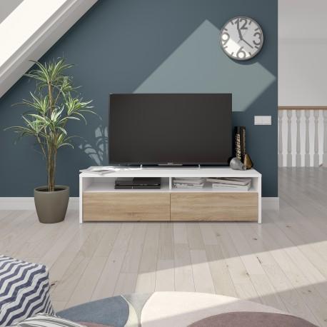 meuble tv bois et blanc kioto