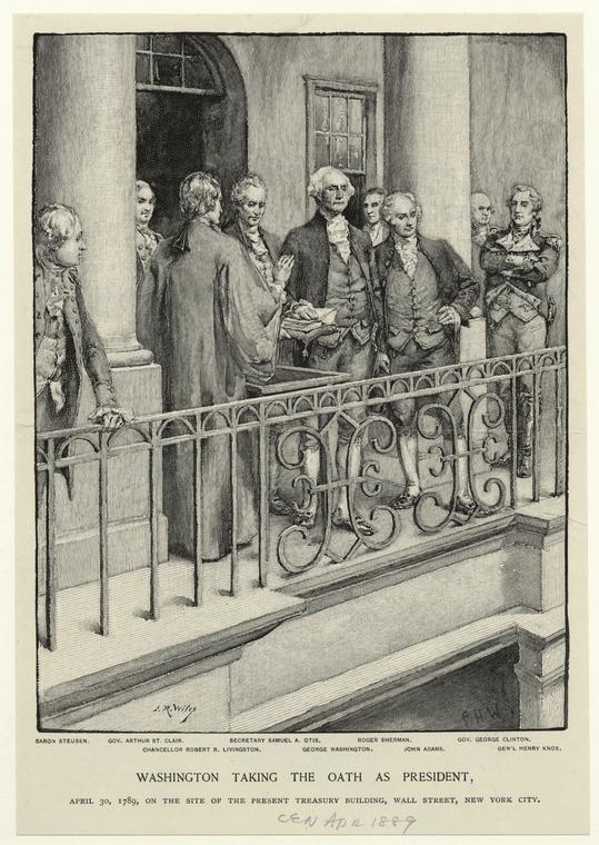 Image result for 1789 – On the balcony of Federal Hall on Wall Street in New York City, George Washington takes the oath of office