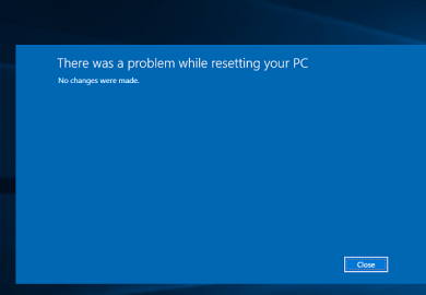 Unable To Reset Windows 10