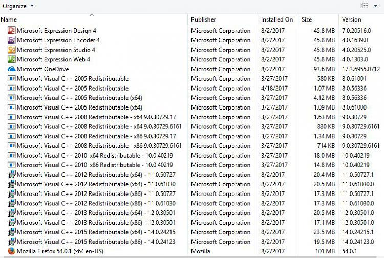 Do I really need all these versions of MS VC++ 2005-2015