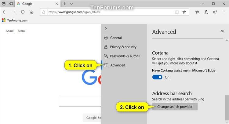 Change Default Search Engine in Microsoft Edge in Windows 10   Tutorials