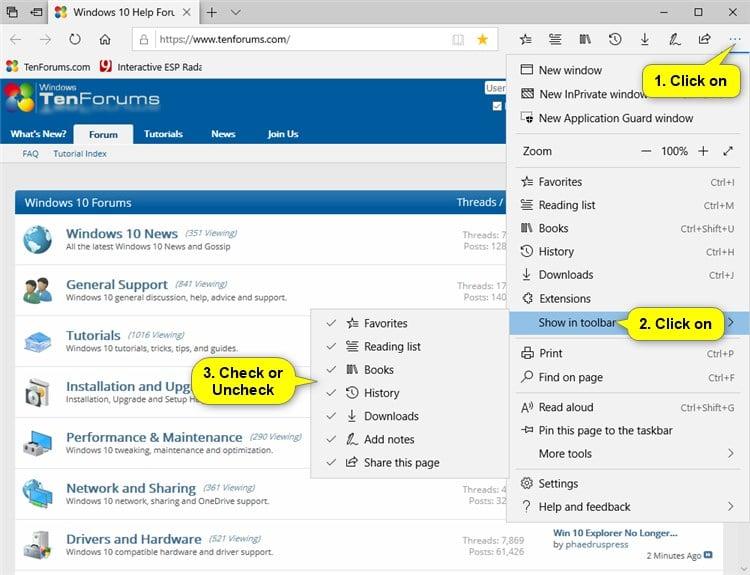 Microsoft Toolbar Windows 10