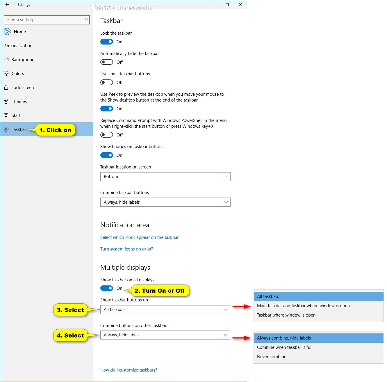 Hide Or Show Taskbar On Multiple Displays In Windows 10